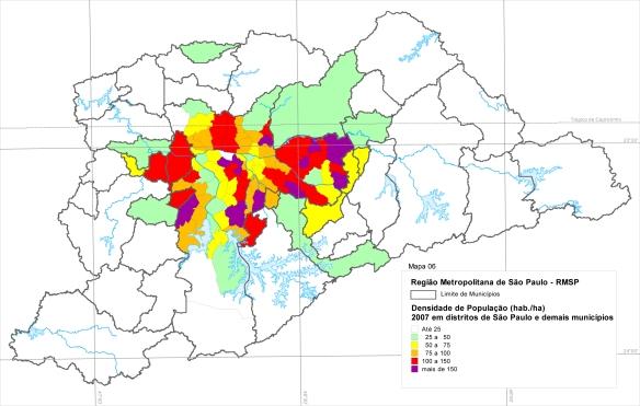 Concentração de domicílios - OD 2007 Metrô