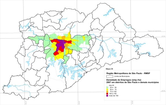 Localização de empregos - OD 2007 Metrô