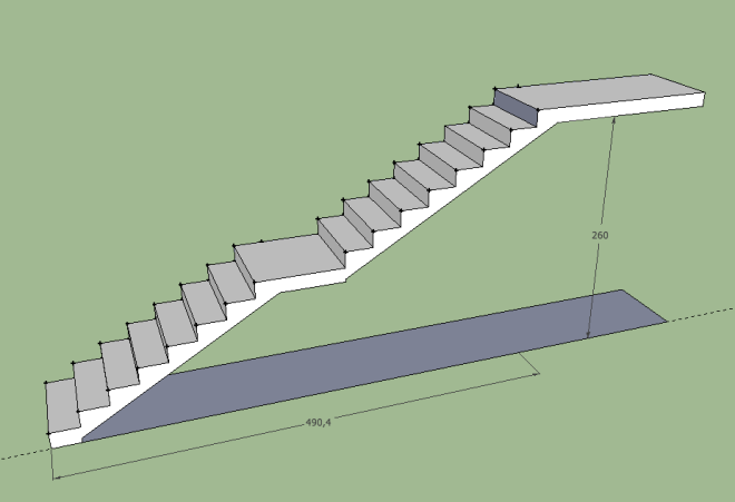 Exemplo de escada com patamar