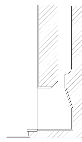 Corte da lareira dada no exemplo acima: repare na curva da base da chaminé, conforme dissemos no texto