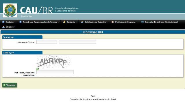 Consulta a RRT na página do CAU